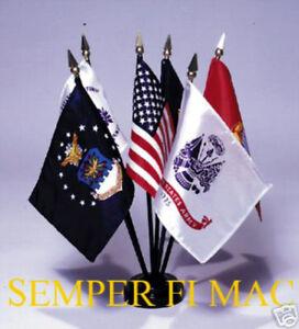 Details about 4X6 DESK FLAG SET USA US MARINES NAVY ARMY AIR FORCE COAST  GUARD BATTLE COLORS