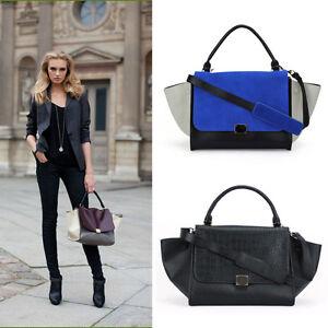 Designer-Inspired-Women-Trapeze-2-SHAPE-BAG-Faux-Leather-Suede-Handbag-Purse