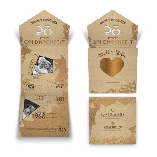 Lasergeschnittene goldene Hochzeit Einladungskarten gemeinsame Erinnerungen
