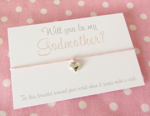 Christening Baptism Charm Wish Bracelet Gift Will You Be My Godmother