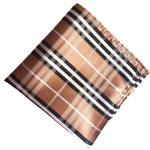 (f67) Black Brown Tartan Men Silk Formal Pocket Square Hanky Party Handkerchief