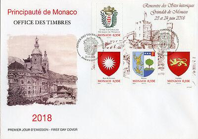 Monaco 2018 Fdc Grimaldi Sites 4v M/s Cover Emblems Coat Of Arms Stamps