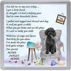 Poodle-Black-Dog-Coaster-034-HOME-SWEET-HOME-Poem-034-Novelty-Gift-by-Starprint