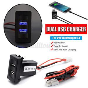 Dual USB Ports 12V / 24V Ladegerät Einbau-Steckdose Für VW T4 Models 2.1A