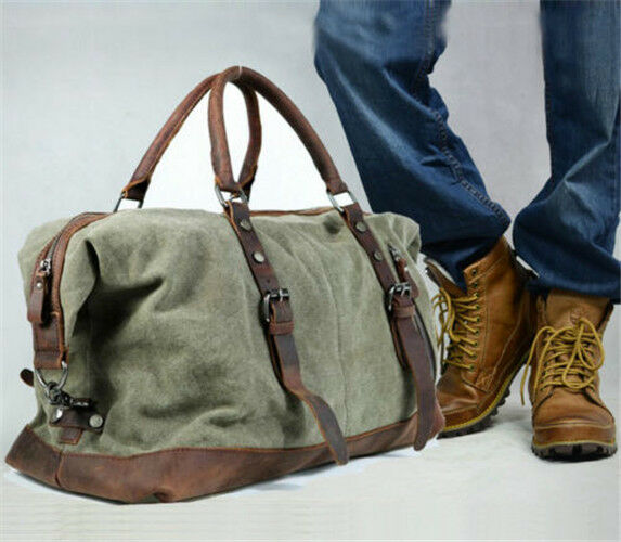 Men Genuine Leather Canvas Duffle Weekend Bag Lightweight Luggage Bags Briefcase
