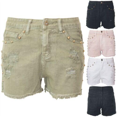 Le donne signore Denim Strappato Vita Alta Effetto Invecchiato Borchie Tasche Pantaloncini da bordi grezzi