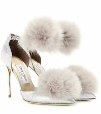 **JIMMY CHOO** Dolly 100 Glitter Fur Trimmed Pumps Heels Shoes