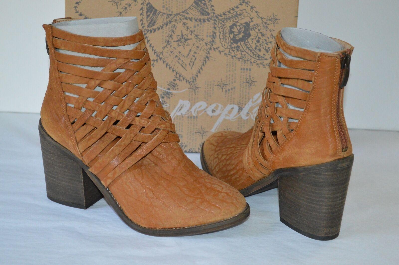 Nuevo  198 Free People carrera botín botín botín de tacón botas Tobillo Corto Vintage Cuero Tostado 7  precio mas barato