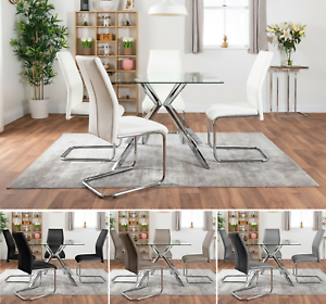 Lazio Chrome 4 Seater Square Dining Table Set And 4 Faux Leather Modern Chairs Ebay