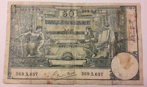 50-Francs-1920-Belgique-50-Frank-Belgie-Biljet-billet-1919-1923-Banknote