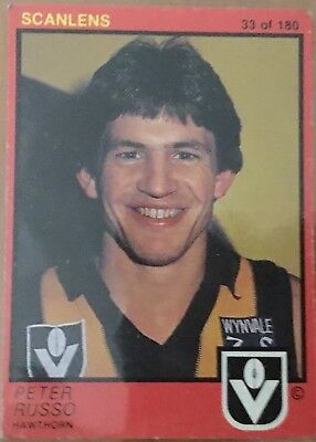Sports Mem, Cards & Fan Shop Apprehensive 1982 Vfl Afl Scanlens Hawthorn Hawks Peter Russo #33 Card To Adopt Advanced Technology