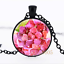 Watercolor Pink Flower Glass Dome black Chain Pendant Necklace wholesale