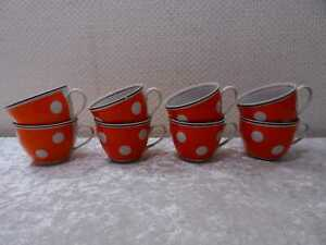 8 x Rockabilly Design Porzellan Kaffeetasse Russland Vintage um 1960 Polka Dots