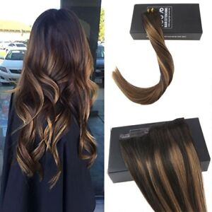 Details About One Piece Clip In Human Hair Extension Balayage Dark Brown Mix Honey Blonde 70gr