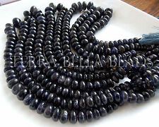 """8"""" strand blue IOLITE smooth gem stone rondelle beads 7mm - 12mm WATER SAPPHIRE"""