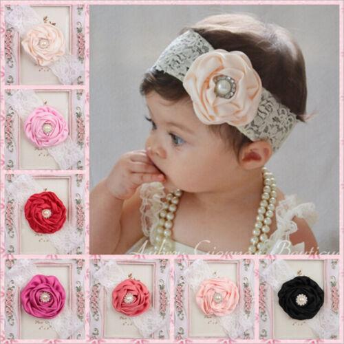 Kids Baby Girl Headwear Toddler Lace Pearl Flower Headband Hair Band HeadwearÁÁ