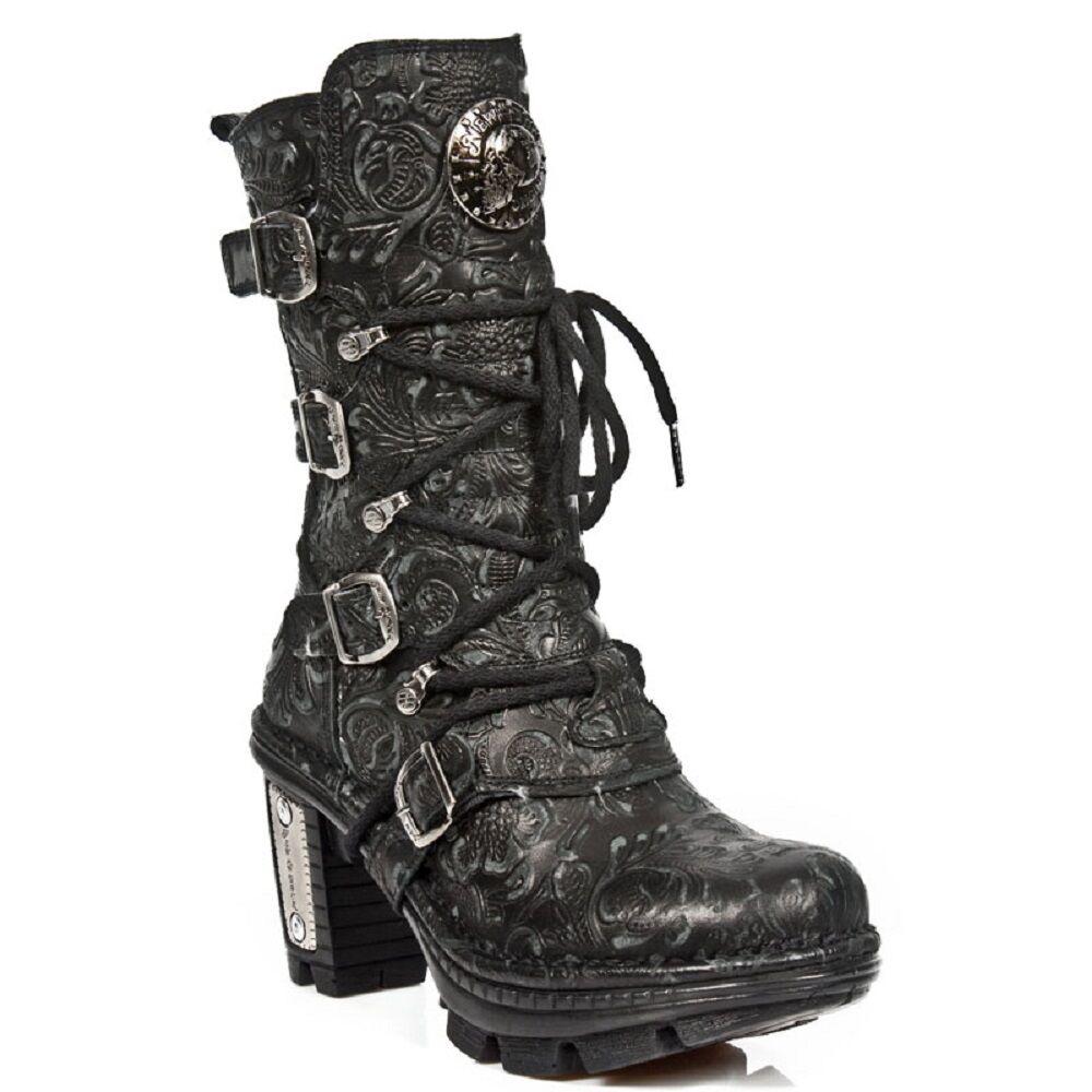 Grandes zapatos con descuento New Rock NEOTR005-S25 Vintage Floral Black Gothic Rock Punk Ladies Leather Boots