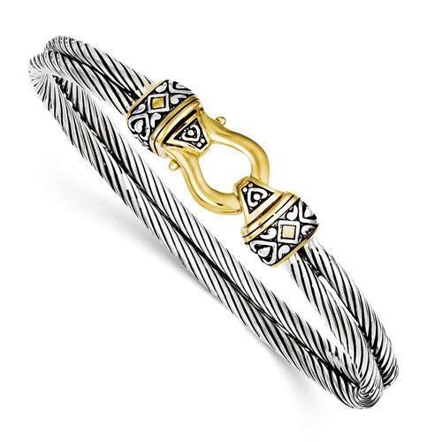 Or 18k Argent Sterling Conception de boucle Cheval Chaussure Double Câble Bracelet Jonc