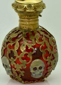 Antique-Victorian-Cranberry-Red-crystal-amp-gild-silver-overlay-Poison-Skull-bottle