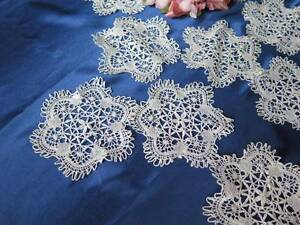 Antique Handmade Needle Lace Cup Doilies Beautiful Dozen Star 5""