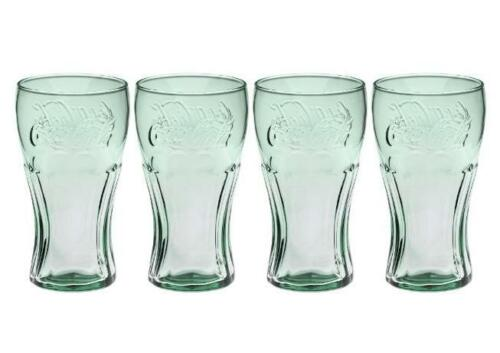 Coke Flared-sides *6-Ounce* Set of 4 NEW! Green COCA-COLA Juice Glass