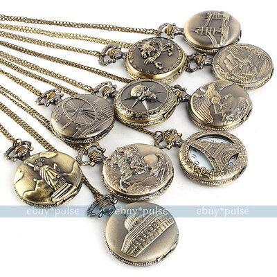 Antique Vintage Bronze Tone Men's Pocket Chain Quartz Pendant Watch Necklace S2