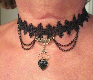SET Gothic Collier und Ohrringe Choker Perlen Kette Tracht Halskette  Schwarz