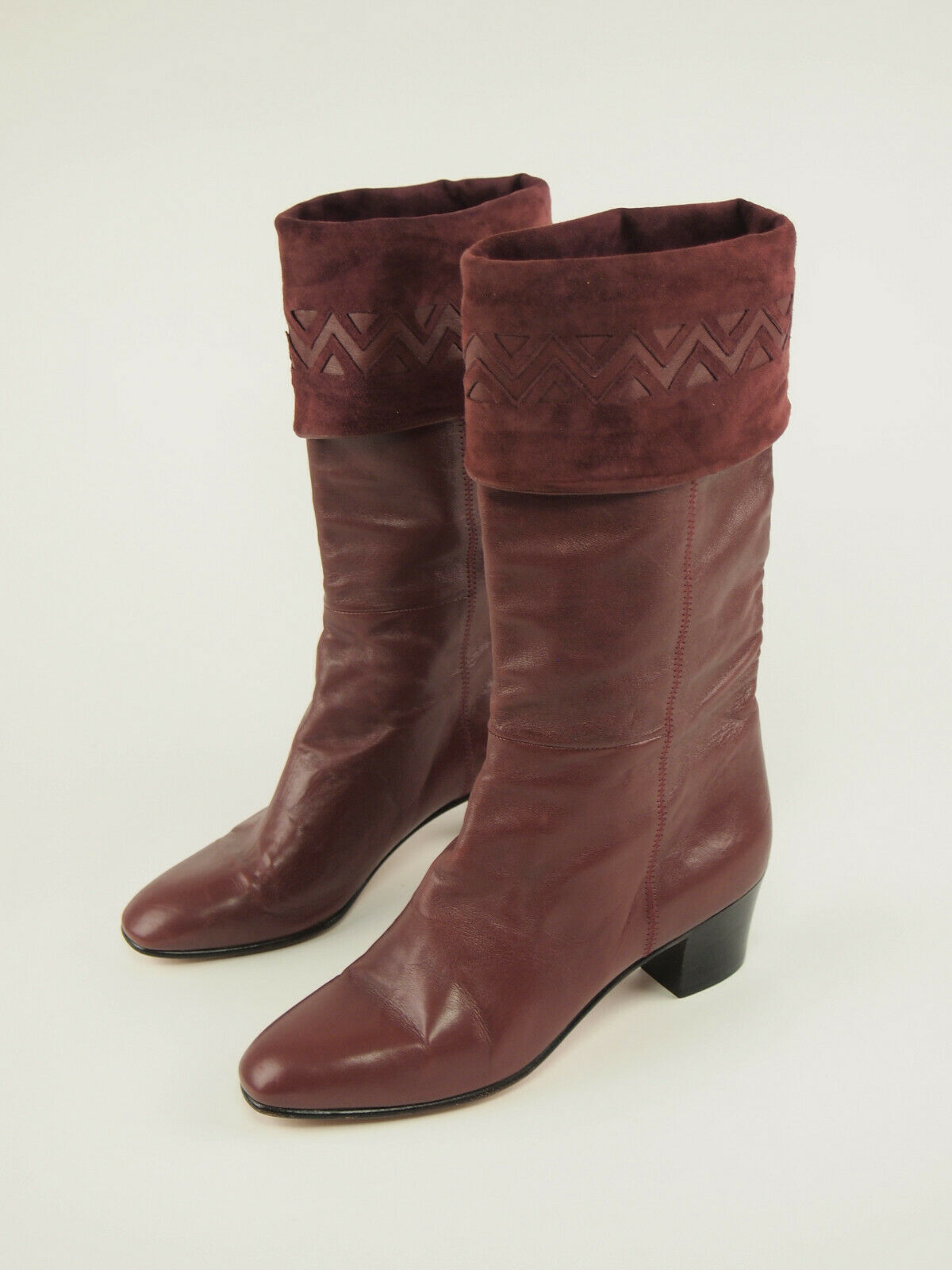New  RAFFAEL Vintage 80s Cordovan Riding Cuff Boots 39 - US 7.5