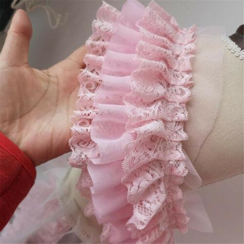 50CM 3-layer Pleated Organza Lace Edge Trim Gathered Mesh Chiffon Ribbon Pink