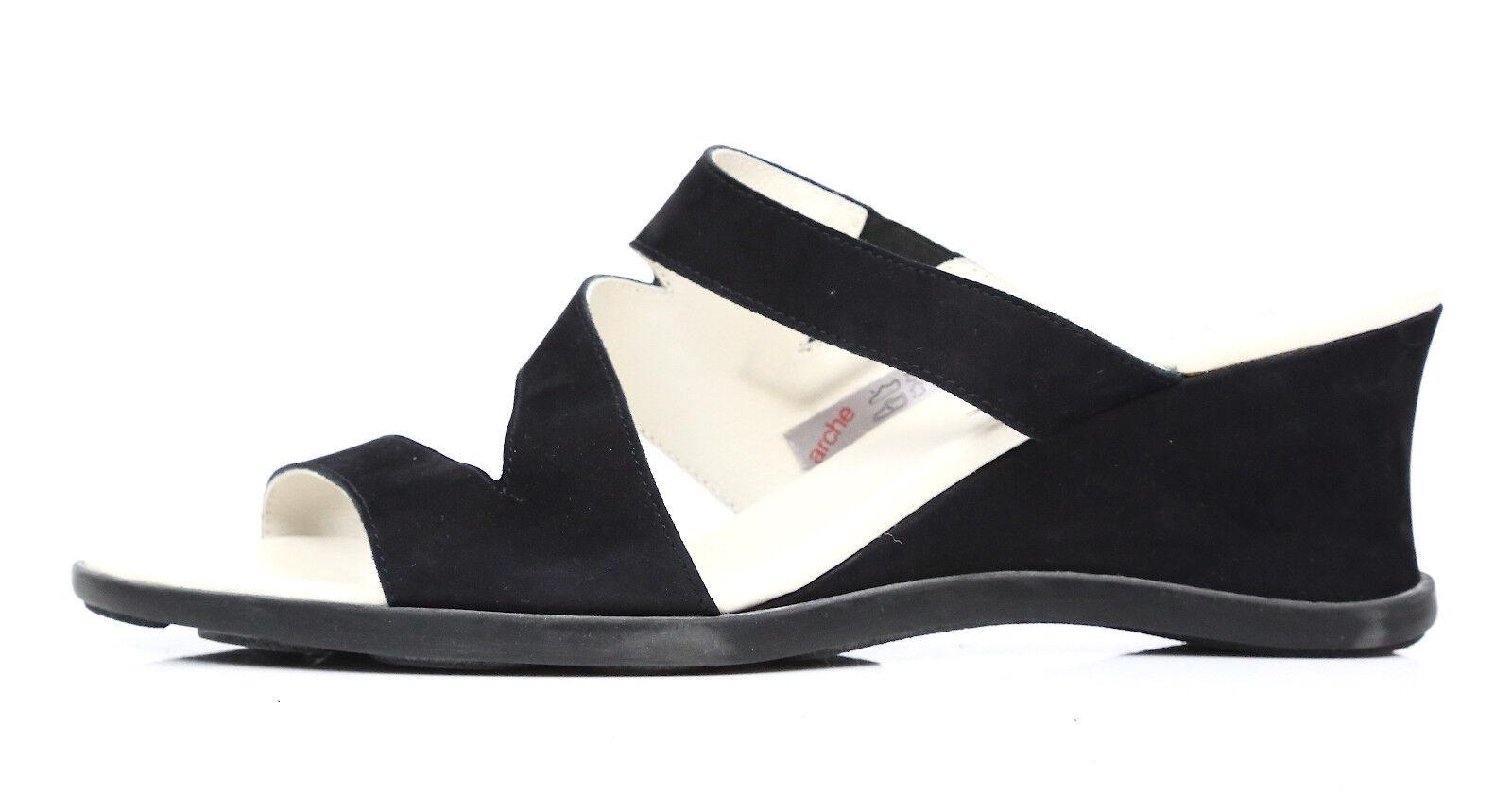 Arche Women's Papou Black Suede Wedge Sandal Size EUR 42 US 11.5