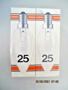 Osram Kerzenlampen Glühlampen 25 W klar E14  2 STÜCK  (B_L12#1)
