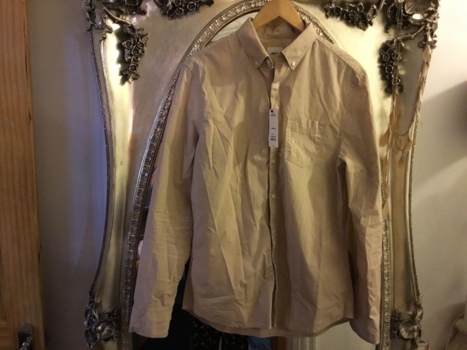 Burton Menswear manches Beigh à manches Menswear longues shirtbutton Col Neuf Avec Étiquettes 241731