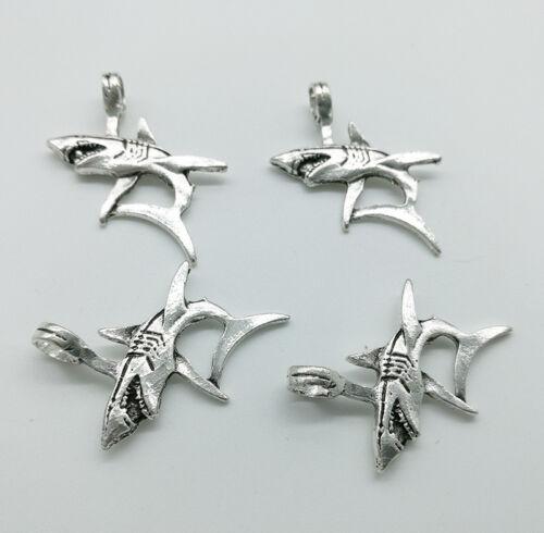 4pcs Big Shark Alloy Charms Pendants Jewelry DIY Accessories 36x33mm