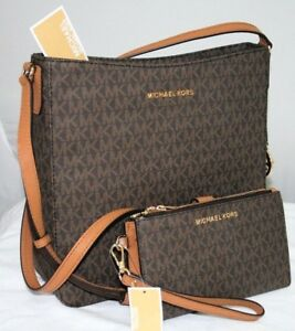 NEW-MICHAEL-KORS-MK-SIGNATURE-BROWN-JET-SET-TRAVEL-MESSENGER-BAG-WALLET-SET