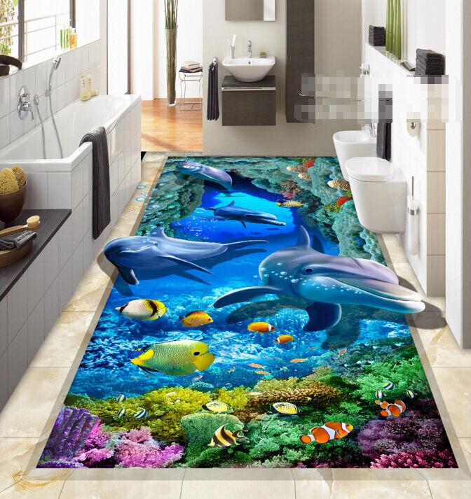 3D Océan 6 Fond d'écran étage Peint en Autocollant Murale Plafond Chambre Art
