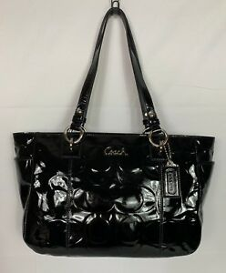 Black Patent Leather Embossed Tote Bag
