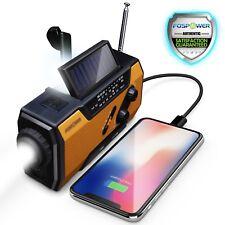 FosPower Emergency Solar Portable Radio with Flashlight Power Bank with USB and SOS