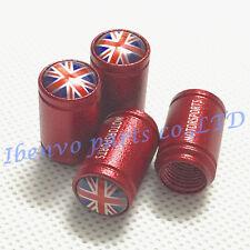 Aluminum Red Matting Car Wheel Tyre Tire Stem Air Valve Cap For UK Union Jack