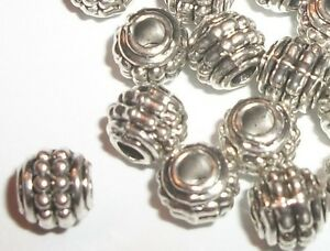 Antique-silver-plated-7x6mm-rondelle-spacer-beads-50-pcs-9090