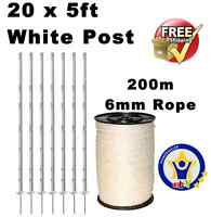 20 X White 5ft Posts 1x200m 6mm Poly Rope Electric Fence Fencing Horse Paddock