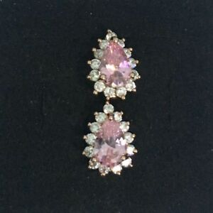 cbe767b418cb5 Details about New Rose Gold Plated Pear Shape Pink Ice CZ w/Accents Mini  Hoop Earrings
