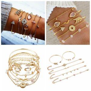6Pcs-Set-Women-Gold-Filled-Opening-Arrow-Crystal-Compass-Bangle-Bracelets