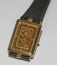 RE319 ZITURA. GOLD PLATED BOX. 24K YELLOW GOLD DIAL (2 GR). WORKS. SWISS