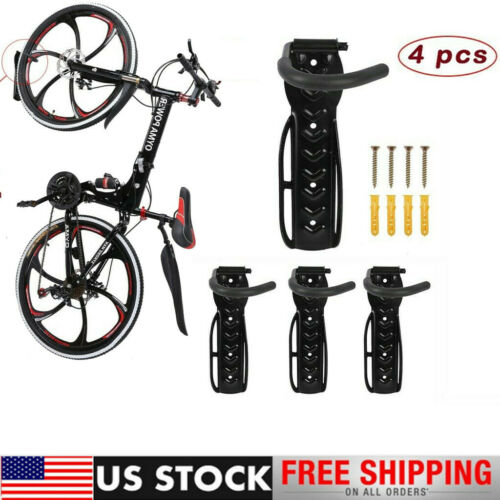 4PCS Bicycle Bike Wall Mount Hook Hanger Garage Storage Holder Rack Stand Black