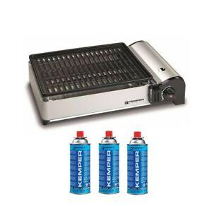 Barbecue a gas portatile griglia antiaderente + 3 cartucce gas Kemper