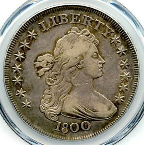 1800 Draped Bust Liberty Silver Dollar, PCGS XF-40, Nice Toning, Problem Free!