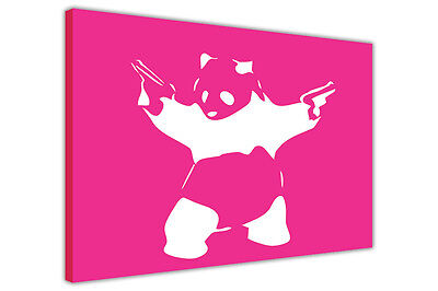 Artiste En Graffiti Banksy Imprimer Panda Avec Fusils Toile Pochoir Art Nouveau Poster Urbain Ebay