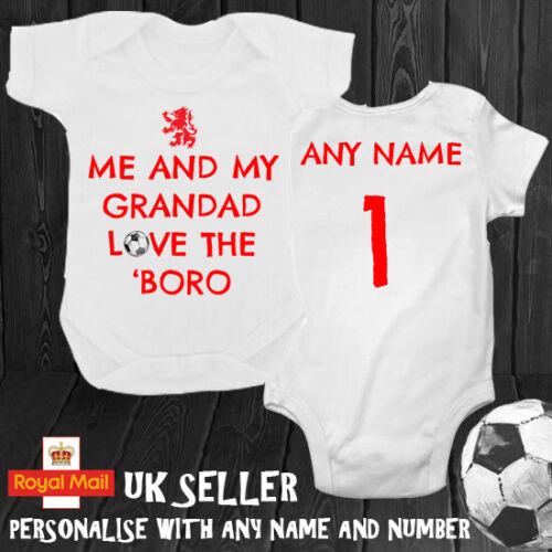 """Middlesbrough ME /& mon grand-père aime la /""""Boro Personnalisé Babygrow Ange"""