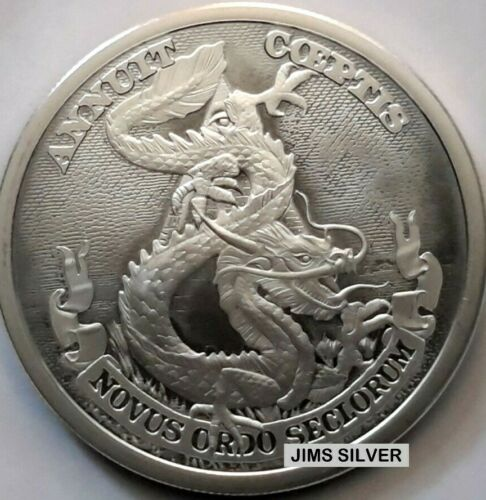 RARE Only 941 made! 2019 2 oz Silver Shieldツ� DOLLAR DRAGON Silver BU /& LOW COA