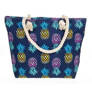 Large-Canvas-Beach-Bag-Holiday-Tote-Bags-Pineapple-Rope-Handles-Zipped-LilyRosa